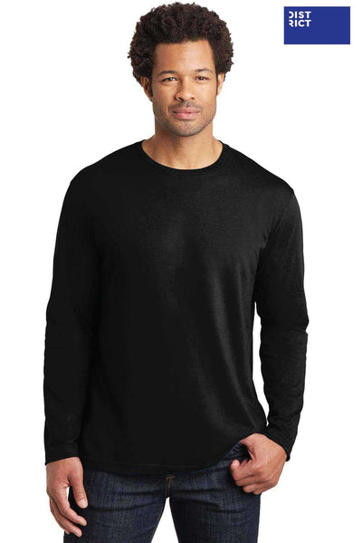 District DT105 Black Perfect Weight Cotton Long Sleeve Crewneck T-Shirt Front