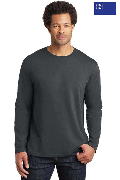 District DT105 Charcoal Grey Perfect Weight Cotton Long Sleeve Crewneck T-Shirt Front