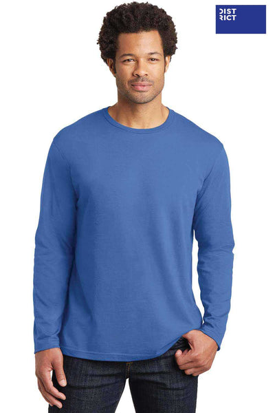 District DT105 Maritime Blue Perfect Weight Cotton Long Sleeve Crewneck T-Shirt Front
