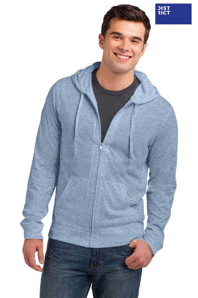 District DT1100 Heather Sterling Blue Lightweight Jersey Blend Hooded Sweatshirt Hoodie Front
