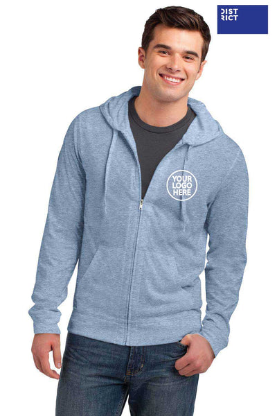 District DT1100 Heather Sterling Blue Lightweight Jersey Blend Hooded Sweatshirt Hoodie Embroidery