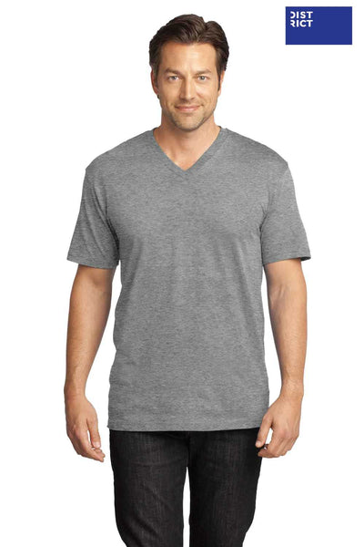 District DT1170 Heather Nickel Grey Perfect Weight Cotton Short Sleeve V-Neck T-Shirt Front