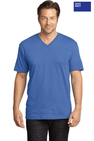 District DT1170 Maritime Blue Perfect Weight Cotton Short Sleeve V-Neck T-Shirt Front