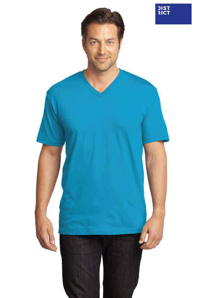 District DT1170 Turquoise Blue Perfect Weight Cotton Short Sleeve V-Neck T-Shirt Front