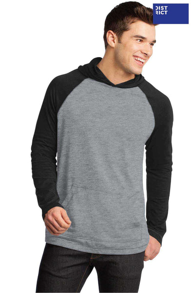 District DT128 Heather Grey/Black Raglan Blend Hooded Sweatshirt Hoodie Front