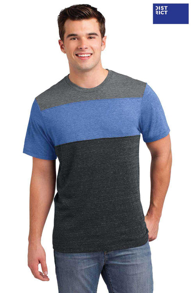 District DT143 Heather Grey/Maritime Blue/Charcoal Triblend Pieced Short Sleeve Crewneck T-Shirt Front