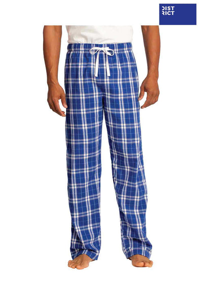 District DT1800 Royal Blue Cotton Flannel Plaid Lounge Pants Front