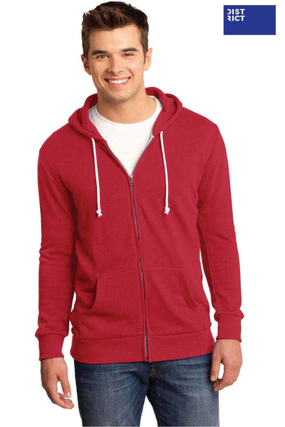 District DT190 Red Core Fleece Hooded Sweatshirt Hoodie Front