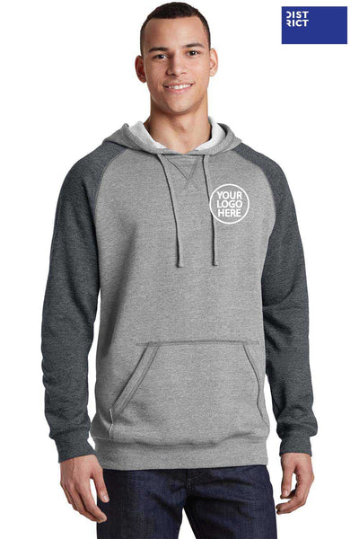 District DT196 Heather Grey/Grey Lightweight Fleece Raglan Hooded Sweatshirt Hoodie Embroidery
