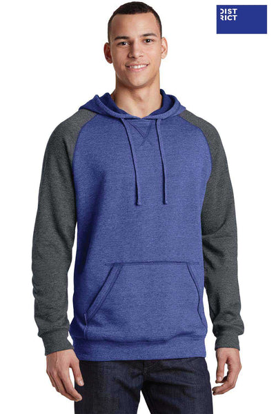 District DT196 Heather Royal Blue/Grey Lightweight Fleece Raglan Hooded Sweatshirt Hoodie Front