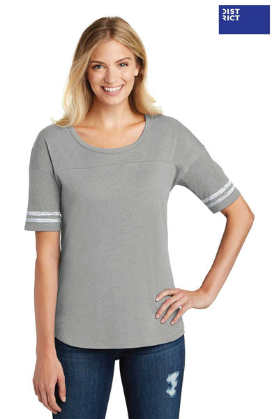 District DT487 Heather Nickel Grey/White Scorecard Blend Short Sleeve Crewneck T-Shirt Front