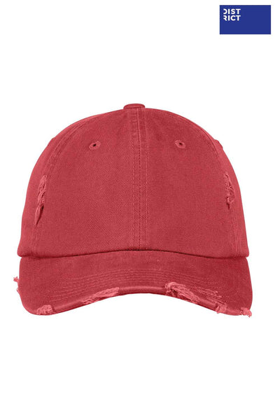 District DT600 Dashing Red Distressed Hat Front