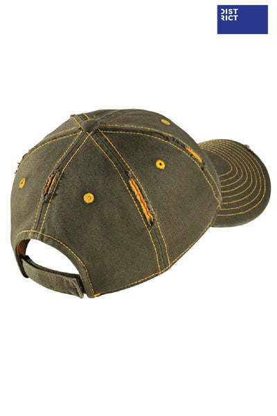 District DT612 Army Green/Gold Rip & Distressed Hat Back