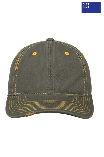 District DT612 Army Green/Gold Rip & Distressed Hat Front
