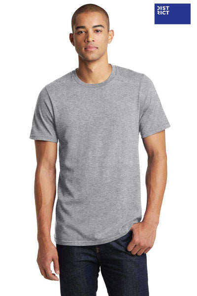 District DT7000 Heather Light Grey Bouncer Cotton Short Sleeve Crewneck T-Shirt Front
