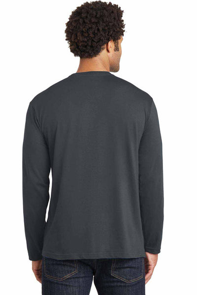 District DT105 Charcoal Grey Perfect Weight Cotton Long Sleeve Crewneck T-Shirt Back