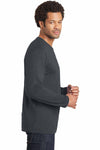 District DT105 Charcoal Grey Perfect Weight Cotton Long Sleeve Crewneck T-Shirt Side