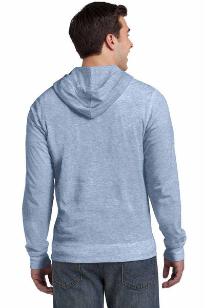 District DT1100 Heather Sterling Blue Lightweight Jersey Blend Hooded Sweatshirt Hoodie Back