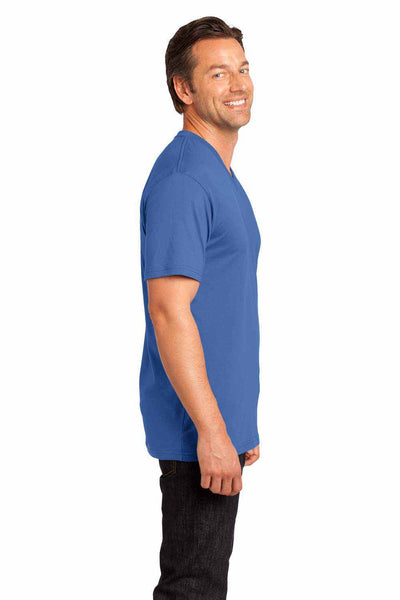 District DT1170 Maritime Blue Perfect Weight Cotton Short Sleeve V-Neck T-Shirt Side