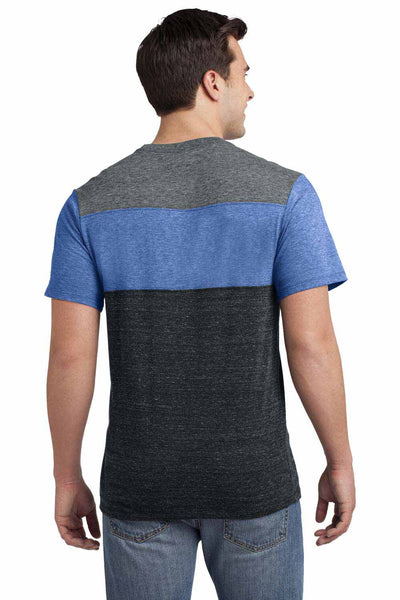 District DT143 Heather Grey/Maritime Blue/Charcoal Triblend Pieced Short Sleeve Crewneck T-Shirt Back