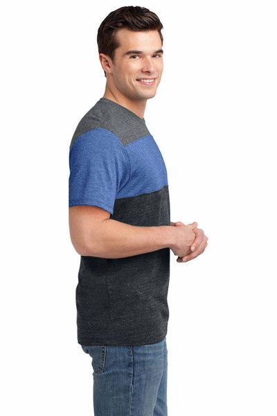 District DT143 Heather Grey/Maritime Blue/Charcoal Triblend Pieced Short Sleeve Crewneck T-Shirt Side