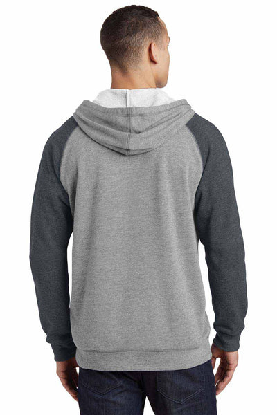 District DT196 Heather Grey/Grey Lightweight Fleece Raglan Hooded Sweatshirt Hoodie Back