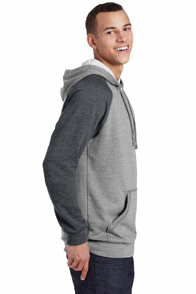 District DT196 Heather Grey/Grey Lightweight Fleece Raglan Hooded Sweatshirt Hoodie Side