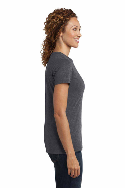 District DM108L Heather Charcoal Grey Perfect Blend Short Sleeve Crewneck T-Shirt Side