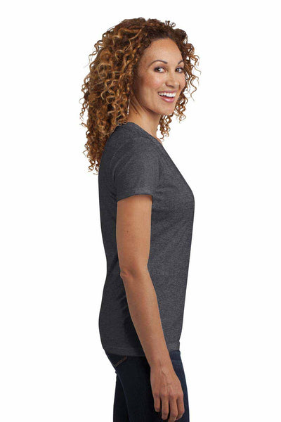 District DM1190L Heather Charcoal Grey Perfect Blend Short Sleeve V-Neck T-Shirt Side
