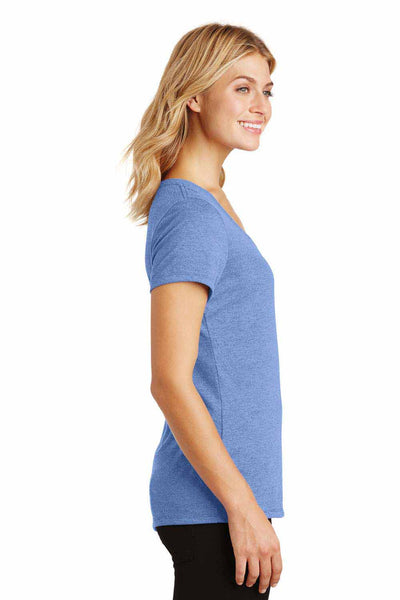 District DM1350L Maritime Blue Frost Perfect Triblend Short Sleeve V-Neck T-Shirt Side
