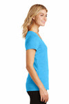 District DM1350L Turquoise Blue Frost Perfect Triblend Short Sleeve V-Neck T-Shirt Side