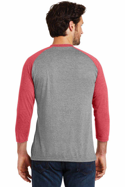 District DM136 Grey Frost/Red Perfect Triblend Raglan 3/4 Sleeve Crewneck T-Shirt Back