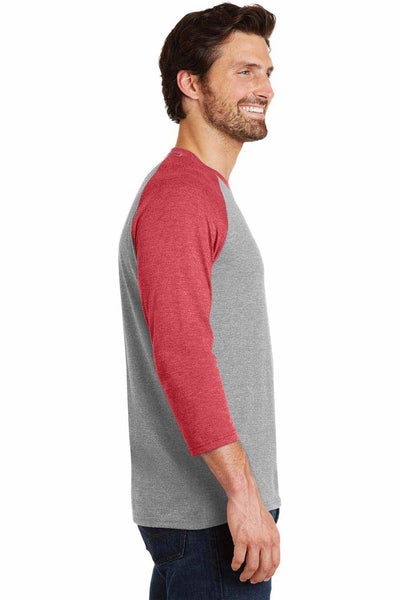 District DM136 Grey Frost/Red Perfect Triblend Raglan 3/4 Sleeve Crewneck T-Shirt Side