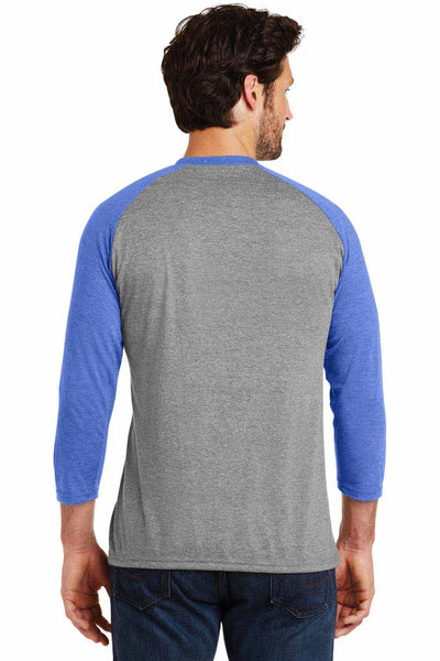 District DM136 Grey Frost/Royal Blue Perfect Triblend Raglan 3/4 Sleeve Crewneck T-Shirt Back