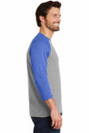 District DM136 Grey Frost/Royal Blue Perfect Triblend Raglan 3/4 Sleeve Crewneck T-Shirt Side