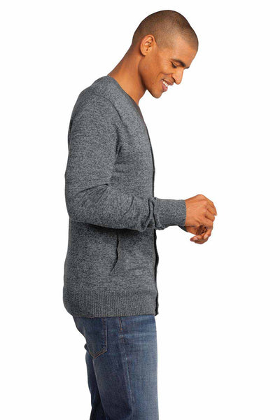 District DM315 Grey Blend Long Sleeve Cardigan Sweater Side