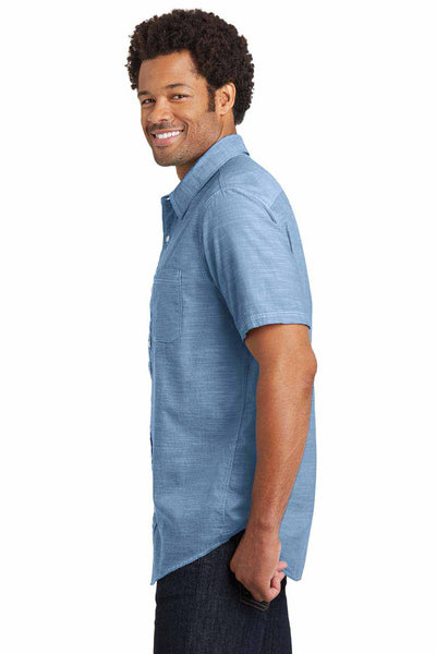 District DM3810 Light Blue Washed Woven Cotton Short Sleeve Button Down Shirt Side