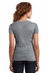 District DM401 Heather Nickel Grey Mini Rib Cotton Short Sleeve V-Neck T-Shirt Back