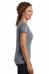 District DM401 Heather Nickel Grey Mini Rib Cotton Short Sleeve V-Neck T-Shirt Side