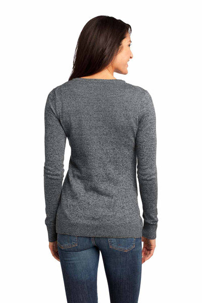 District DM415 Warm Grey Blend Long Sleeve Cardigan Sweater Back