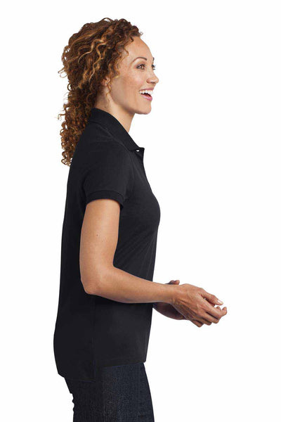 District DM425 Black Stretch Pique Triblend Short Sleeve Polo Shirt Side