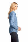 District DM4800 Light Blue Washed Woven Cotton Long Sleeve Button Down Shirt Side