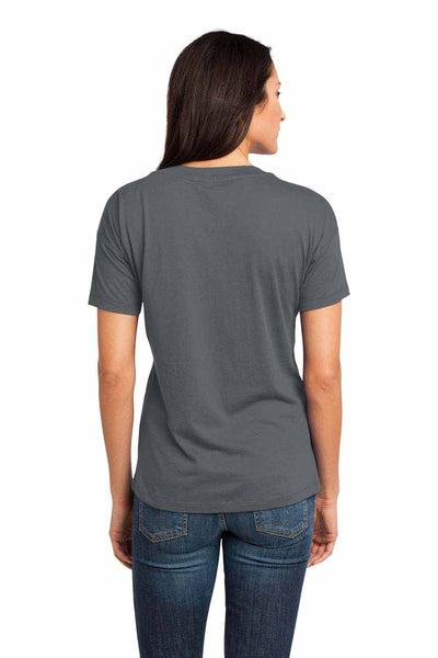 District DM480 Warm Grey Relaxed Blend Short Sleeve V-Neck T-Shirt Back