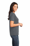 District DM480 Warm Grey Relaxed Blend Short Sleeve V-Neck T-Shirt Side