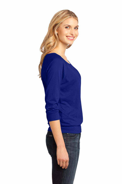 District DM482 Lapis Blue Raglan Blend 3/4 Sleeve T-Shirt Side
