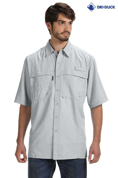 Dri Duck DD4406 Fog Grey Catch Polyester Short Sleeve Button Down Shirt Front