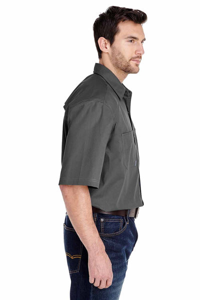 Dri Duck 4357 Grey Cotton Button Down Short Sleeve Shirt Side