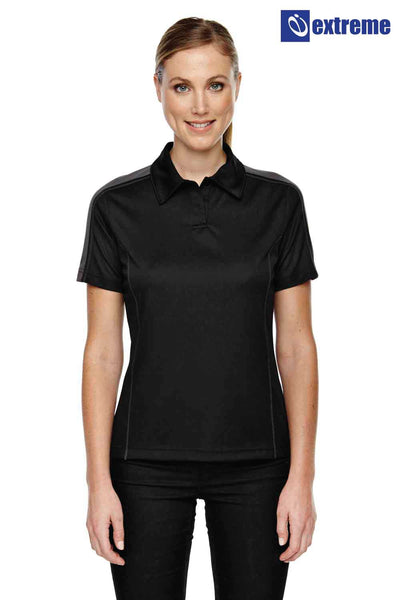 Extreme 75052 Black/Grey Eperformance Polyester Pique Colorblock Short Sleeve Polo Shirt Front