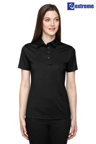 Extreme 75114 Black Eperformance Polyester Snag Proof Short Sleeve Polo Shirt Front
