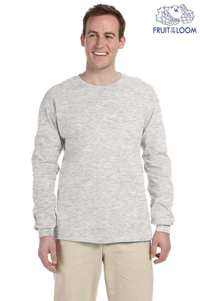 Fruit Of The Loom 4930 Ash Grey HD Cotton Long Sleeve Crewneck T-Shirt Front